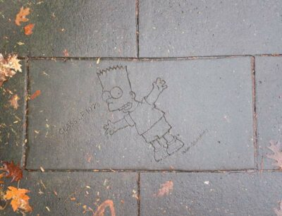 The Bart Simpson etching in Portland, Oregon
