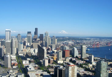 The view from the top of the Space Needle in Seattle