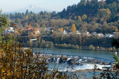 Willamette Falls with Mt Hood in the distance