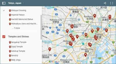 Map of things to do in Tokyo, Japan