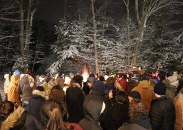 Groundhog Day bonfires at Gobbler's Knob in Punxsutawney