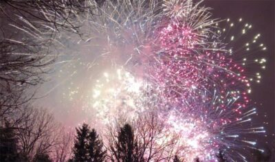 Groundhog Day Fireworks at dawn in Punxsutawney