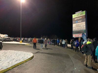 The line to get on the buses at the Walmart in Punxsutawney