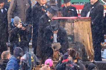 Punxsutawney Phil greets the masses