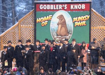 Punxsutawney Phil makes his announcement at Gobbler's Knob