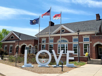 Virginia Welcome Center Love Sign in Fredericksburg