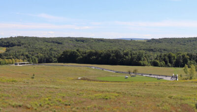 View of the memorial from the Flight 93 Memorial Visitors Center in Shanksville, Pennsylvania