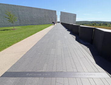 Entrance to the Flight 93 Memorial Visitors Center in Shanksville, Pennsylvania. The walkway marks the events of 9/11.
