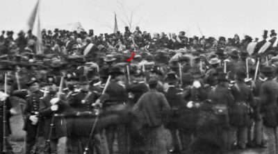 Photo from the Gettysburg Address. The arrow points to Lincoln.