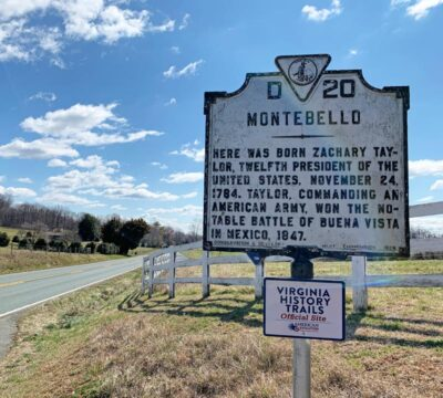 Historic marker for Montebello, Zachary Taylor's birthplace in Virginia