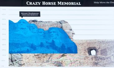 Size of the Crazy Horse Memorial compared to Mount Rushmore.