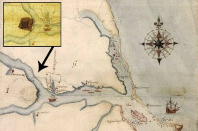 John White's map related to a possible location where the Lost Colony moved to.