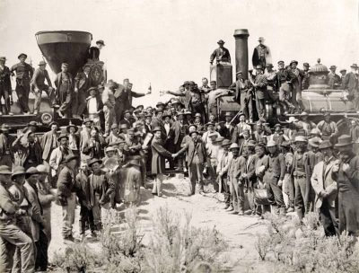 """""""The Champagne Photo"""" at the Golden Spike Ceremony in 1869. Source: Wikipedia"""